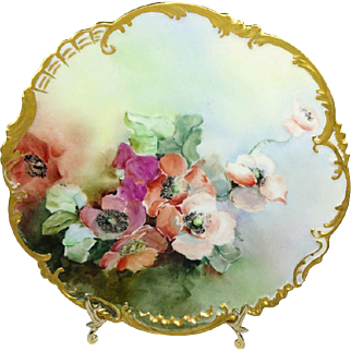 French Limoges France Hand Painted Plate Poppies Artist Signed