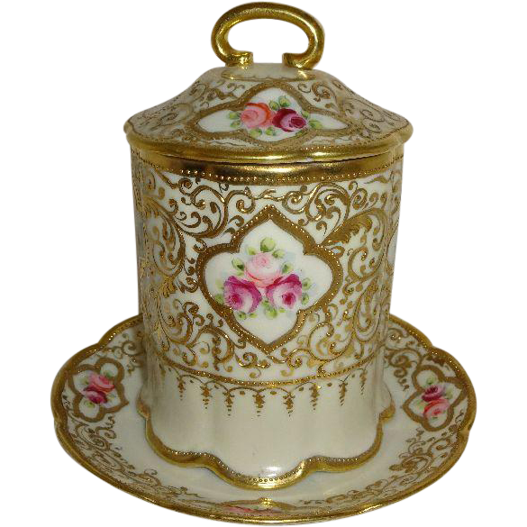 Vintage Japanese Nippon Japan Condensed Milk with Matching Under Plate Heavy Gilded Design Pink Tea Roses