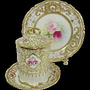 Nippon Gilded Design Pink Roses Condensed Milk Jam Container