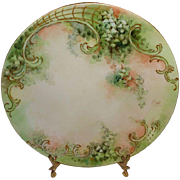 Antique T&V Limoges France Hand Painted Plate with Shamrocks