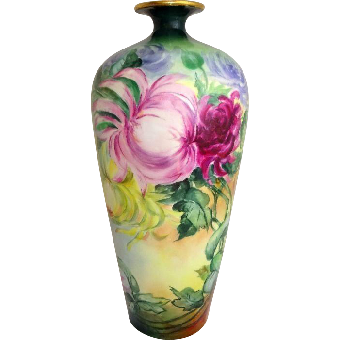 "14"" French Limoges Vase Hand Painted Chrysanthemums Artist Signed"