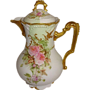 French Antique Limoges Chocolate Pot Hand Decorated with Pink Roses Ornate Gilded Design