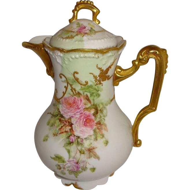 French Antique Limoges Chocolate Pot Pink Tea Roses Gilded Design