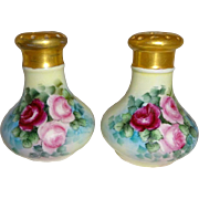 Antique Austria Porcelain Salt Pepper Hand Painted Pink Tea Roses - Red Tag Sale Item