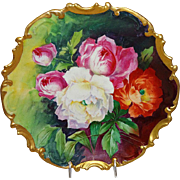 """MAGNIFICENT 13 1/2"""" Limoges Plaque Hand Painted Roses Signed Duval"""