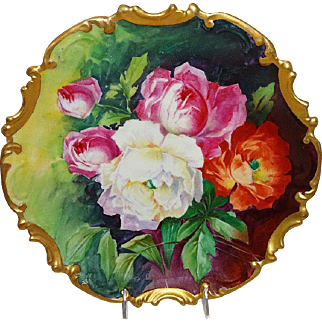 French Vintage Limoges Charger with Hand Painted Roses Artist Signed