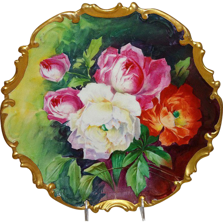 French Limoges Plaque Charger Plate Hand Painted Roses Signed