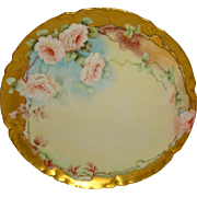 French Vintage Haviland Limoges France Plate Hand Painted Pink Tea Roses