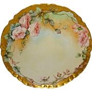 French Haviland Limoges Plate Hand Painted Pink Roses