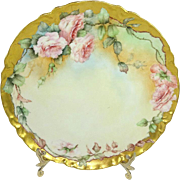 Haviland Limoges Hand Painted Plate Hand Painted Pink Roses