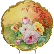 Limoges Plaque Charger Plate Hand Painted Roses Signed Duval