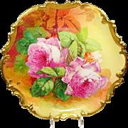 Vintage French Limoges Plaque Charger Pink Tea Roses Artist Signed