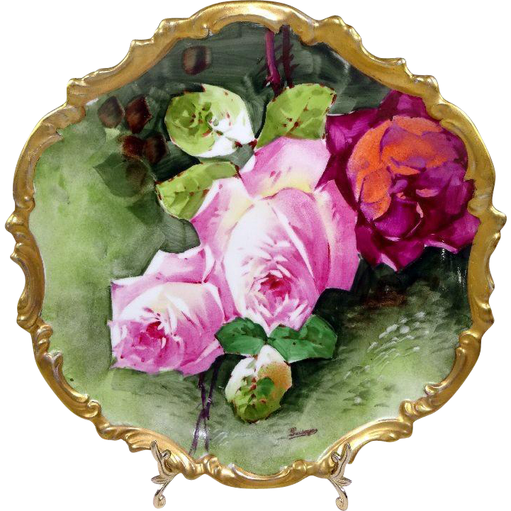 "French Limoges 10"" Plaque Charger Plate Hand Painted Roses Signed"