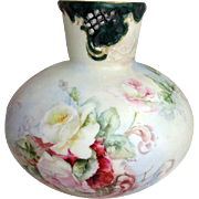 Antique Austria Porcelain Vase Hand Painted Roses Artist Signed