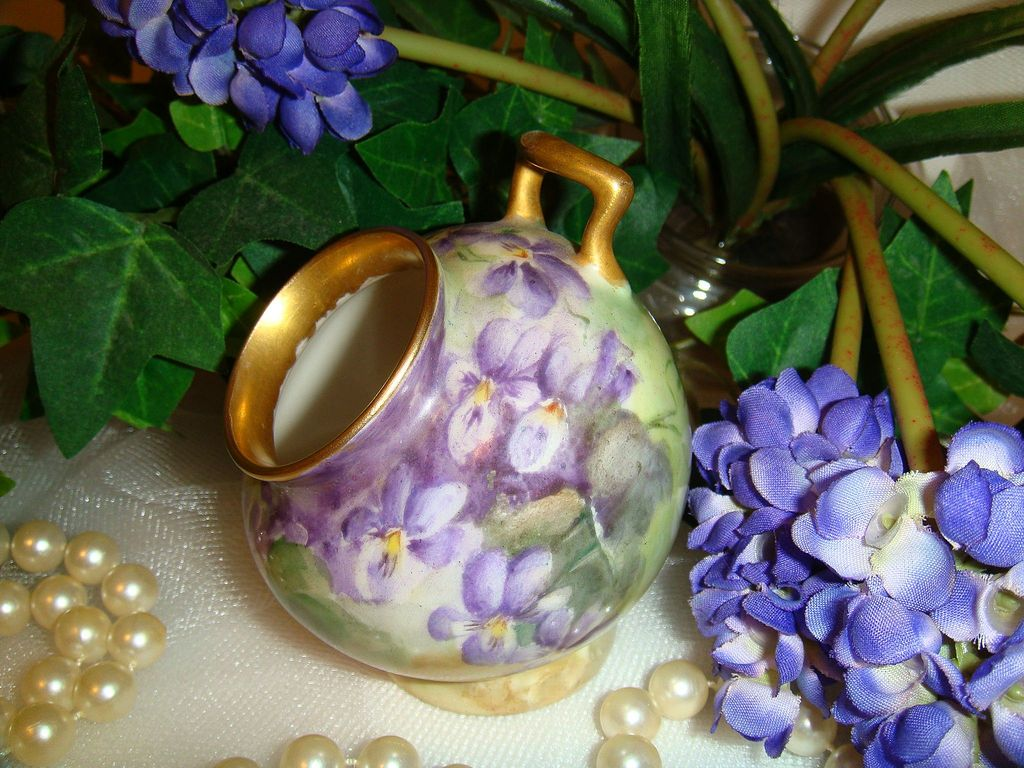 T&V - Limoges - France - Rooting Pot - Posy Vase - Hand Painted - Romantic Bouquet - Purple Violets - Circa 1919 - Only Fine Lines