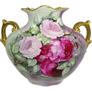 Antique Hand Painted Roses Artist Signed Austria Pillow Vase