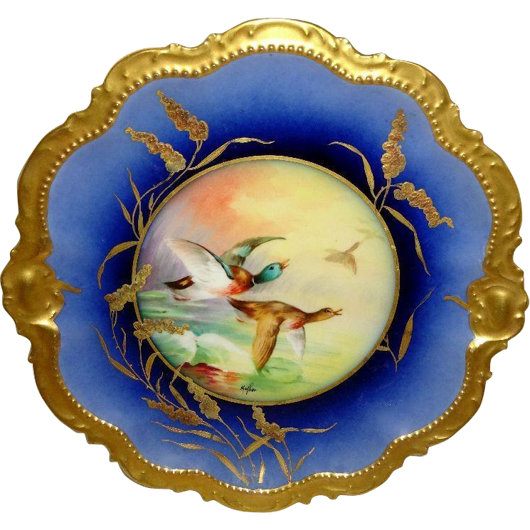 Vintage - Limoges - France - Hand Painted - Game Plate - Signed Mullier - Circa 1920 - Only Fine Lines