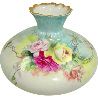 Austria Vase Hand Painted Multicolored Tea Roses Artist Signed