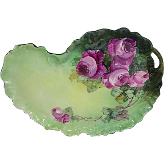 French Vintage Limoges Tray Hand Painted Sweetheart Pink Roses
