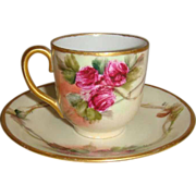 Charming Vintage Austria Tea  Cup Saucer Hand Painted Pink Roses
