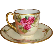 German Cup Saucer Hand Painted Ruby Red Tea Roses