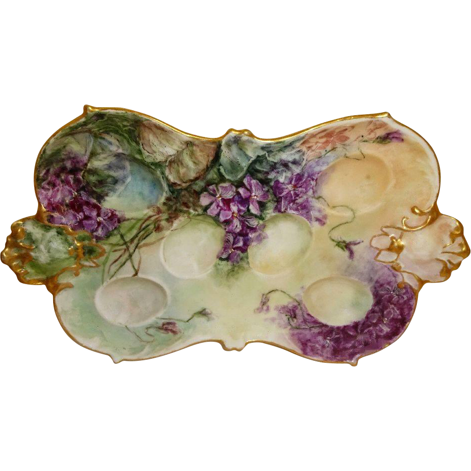 French Antique Limoges Egg Tray Hand Painted Purple African Violets