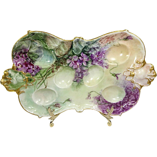 Antique AK Limoges Egg Tray Hand Painted Violets Signed