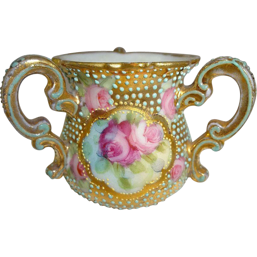 Vintage Nippon 3 Handle Gold Loving Cup Hand Painted Roses Jewels