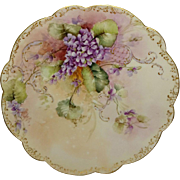 Limoges France Antique French Charger Hand Painted Purple Violets Artist SIGNED