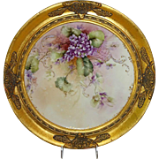 Vintage French Limoges Framed Hand Painted Charger Violets Signed