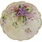 French Limoges Charger Plate Hand Painted Violets Artist SIGNED