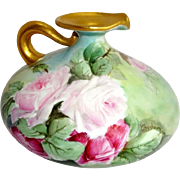 Limoges Squat Vase Pitcher Ewer Hand Painted Pink Roses Signed
