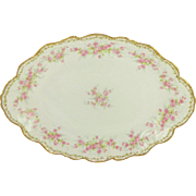 Large Antique French Limoges Platter Tray Pink Forget Me Nots