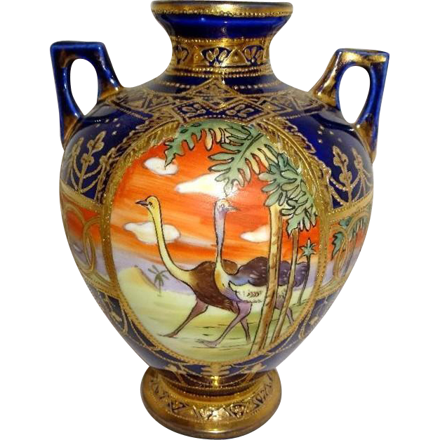 Nippon Japan Japanese Noritake Scenic Vase Ostriches