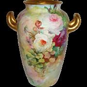Antique Rosenthal Bavaria German Vase Hand Painted Roses Artist Signed