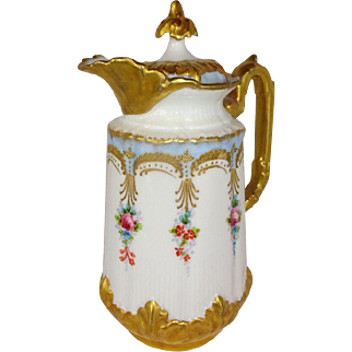 French Vintage Limoges Chocolate Pot with Hand Decorated Roses