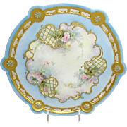 Antique French Limoges Jeweled Plate Hand Painted Pink Tea Roses