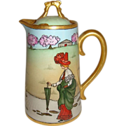 Rare Antique French DC Limoges France Hand Painted Scenic Figural Teapot