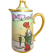 Antique French Limoges Tea Pot with Whimsical Figural Scene