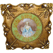 Framed Artist Signed Antique Limoges Hand Painted Portrait Plate of Elisabeth de Bourbon Duchess of Nemours