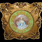 Framed Artist Signed Antique Limoges Hand Painted Portrait Plate of Elisabeth de Bourbon Duchess of Nemours