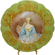 Artist Signed Antique French Limoges Hand Painted Portrait Plate of Elisabeth de Bourbon Duchess of Nemours