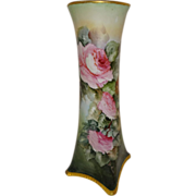 "15"" Bavaria German Vase Hand Painted Cascading Pink Roses"