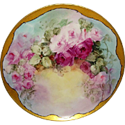Vintage French Haviland Plate Hand Painted Pink Tea Roses Signed Jennings