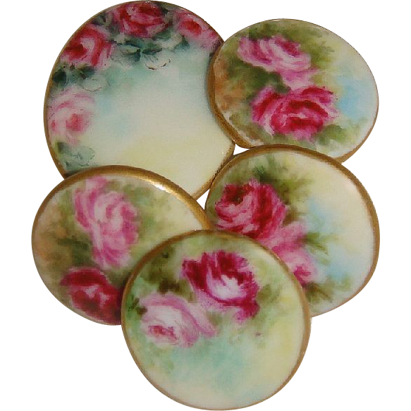 5 Hand Painted Porcelain Buttons Studs Pink Roses Signed Dated '03