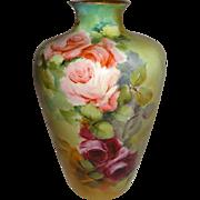 Antique Rosenthal German Bavaria Vase Hand Painted with Pink Tea Roses