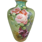 Antique German Rosenthal Vase Hand Painted Pink Tea Roses