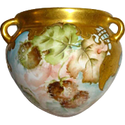 Hanging French Vase Jardiniere Basket Hand Painted Autumn Foliage - Ornate Gilded Border