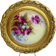Framed Haviland Limoges Plate with Hand Painted Tea Roses