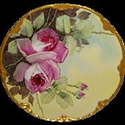 Vintage Haviland Limoges France Plate Hand Painted Pink Roses Artist Signed Beitler